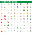 100 bounty icons set cartoon style vector image