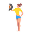 a girl feel hot they are use a fan a girl vector image vector image