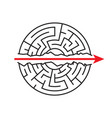 a straight red arrow goes through the maze go vector image