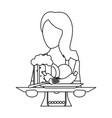 bavarian woman oktoberfest in black and white vector image vector image