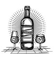 best whiskey bottles and cups drawn vector image vector image