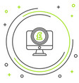 black and green line computer monitor with pound vector image vector image