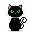 black cat with green eyes on the neck of a vector image