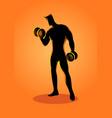 bodybuilder lifting dumbbells vector image vector image