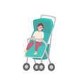 child sitting in stroller isolated cartoon baby vector image vector image