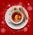christmas tea with cinnamon and spices on red vector image vector image