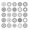 cogwheel outline icons set isolated on white vector image vector image