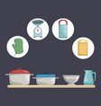 color background with icons elements of kitchen vector image