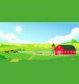 colorful farm summer landscape blue clear sky vector image