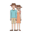 couple colorful silhouette and both with hat and vector image