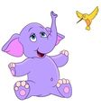 cute cartoon elephant and hummingbird vector image vector image