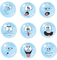 Emotion smiles blue color set 004 vector image vector image