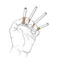 hand holding 4 cigaretes