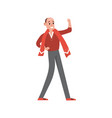 happy sports fan in red supporting his team with a vector image vector image