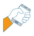 isolated hand taking cellphone vector image vector image