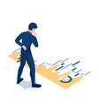 isometric businessman looking at financial graph vector image