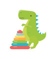 kids toy plastic pyramid and green dinosaur toys vector image
