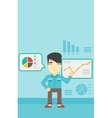 Man making business presentation vector image vector image