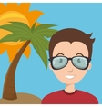 man sun palm travel vector image vector image