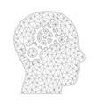 mesh brain gears icon vector image vector image