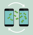 money transfer process on mobile phones vector image