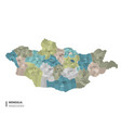 mongolia higt detailed map with subdivisions vector image vector image