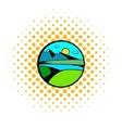 Mountain lake with high mountain icon vector image vector image