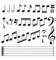 music notes icon on white background flat style vector image vector image