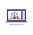 online culinary video recipes on laptop screen and vector image