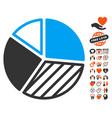 pie chart icon with valentine bonus vector image vector image