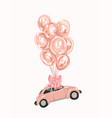 pink female car with balloons for your design vector image