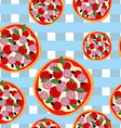 Pizza seamless pattern on a blue tablecloth Food vector image
