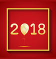 red card on new year 2018 with gold frame vector image