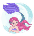 red mermaid cartoon travel tropical vector image vector image