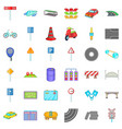 road sigh icons set cartoon style vector image vector image