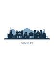 santa fe skyline monochrome silhouette vector image vector image