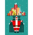 Santa with Deers Gifts and Presents Congratulates vector image vector image
