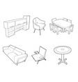 set furniture silhouettes vector image