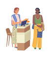 shop assistant and buyer at shopping checkout desk vector image vector image