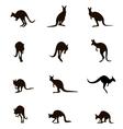 Silhouettes Australian kangaroo vector image
