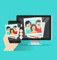 smartphone streaming photo cards on computer vector image vector image