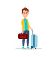 smiling male with luggage vector image vector image