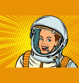 smiling woman astronaut vector image vector image