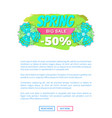 spring big sale promo web poster with info label vector image vector image