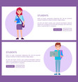 students web posters set boy in blue sweater and vector image vector image