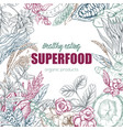 superfood realistic sketch frame design vector image vector image