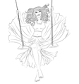 The girl in a flowing dress on a swing outline vector image vector image