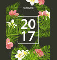 trendy summer card banner poster with tropical vector image