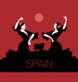 typical spanish dance bull moon or sun in the vector image vector image