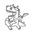 dragon playing the electric guitar in black vector image